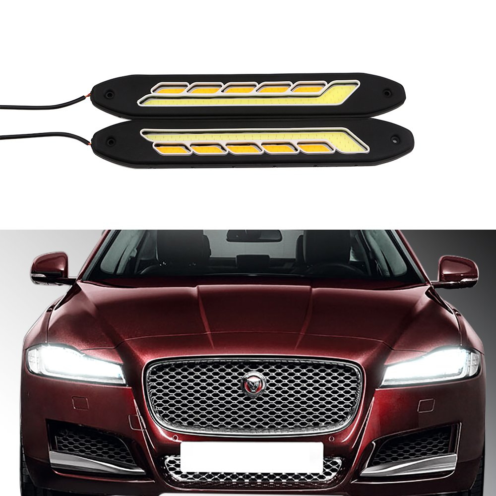 GrandviewTM 2PCS 6000K High Power White//Amber Super Bright 10SMD LED Waterproof Daytime Running Light Kits For Car DRL Fog Tail blub Running lights