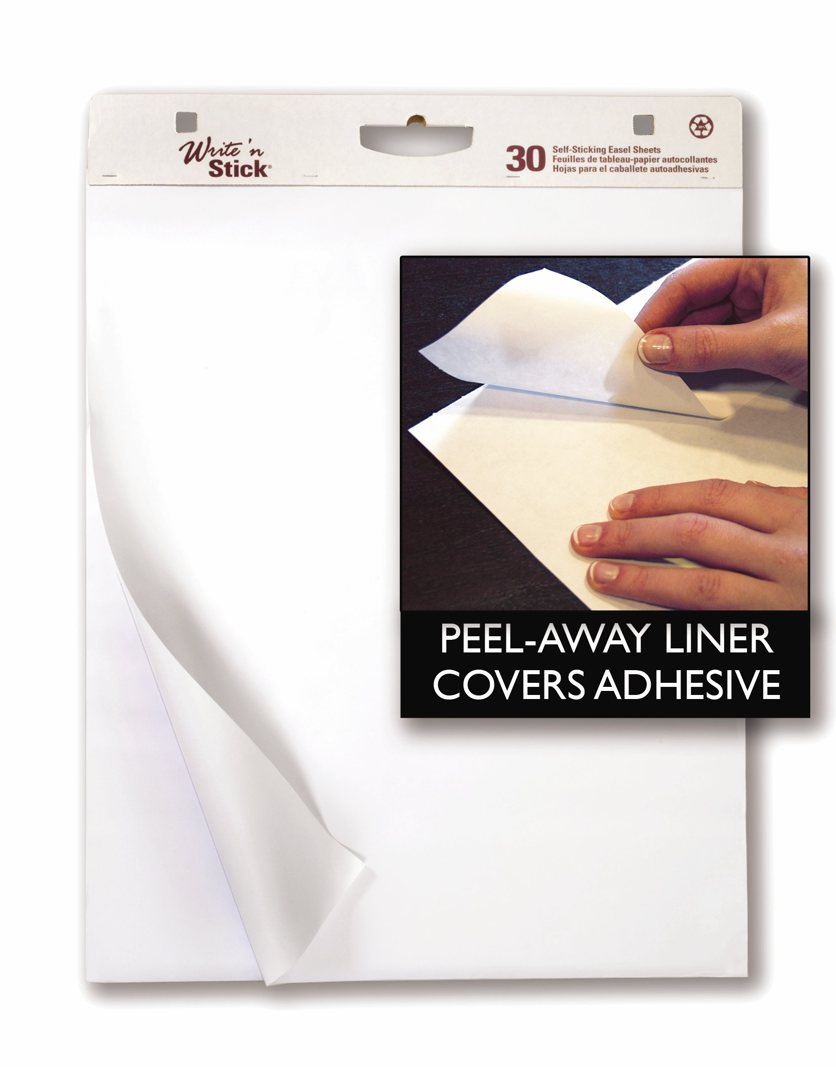 Adams Write'n Stick Easel Pad, 25 x 30 Inch, 2-Pack, 30 Sheets per Pad, White (WSP25302W)