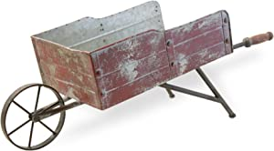 Boston International HHC18436 Rustic Large Wheelbarrow Decor, Red