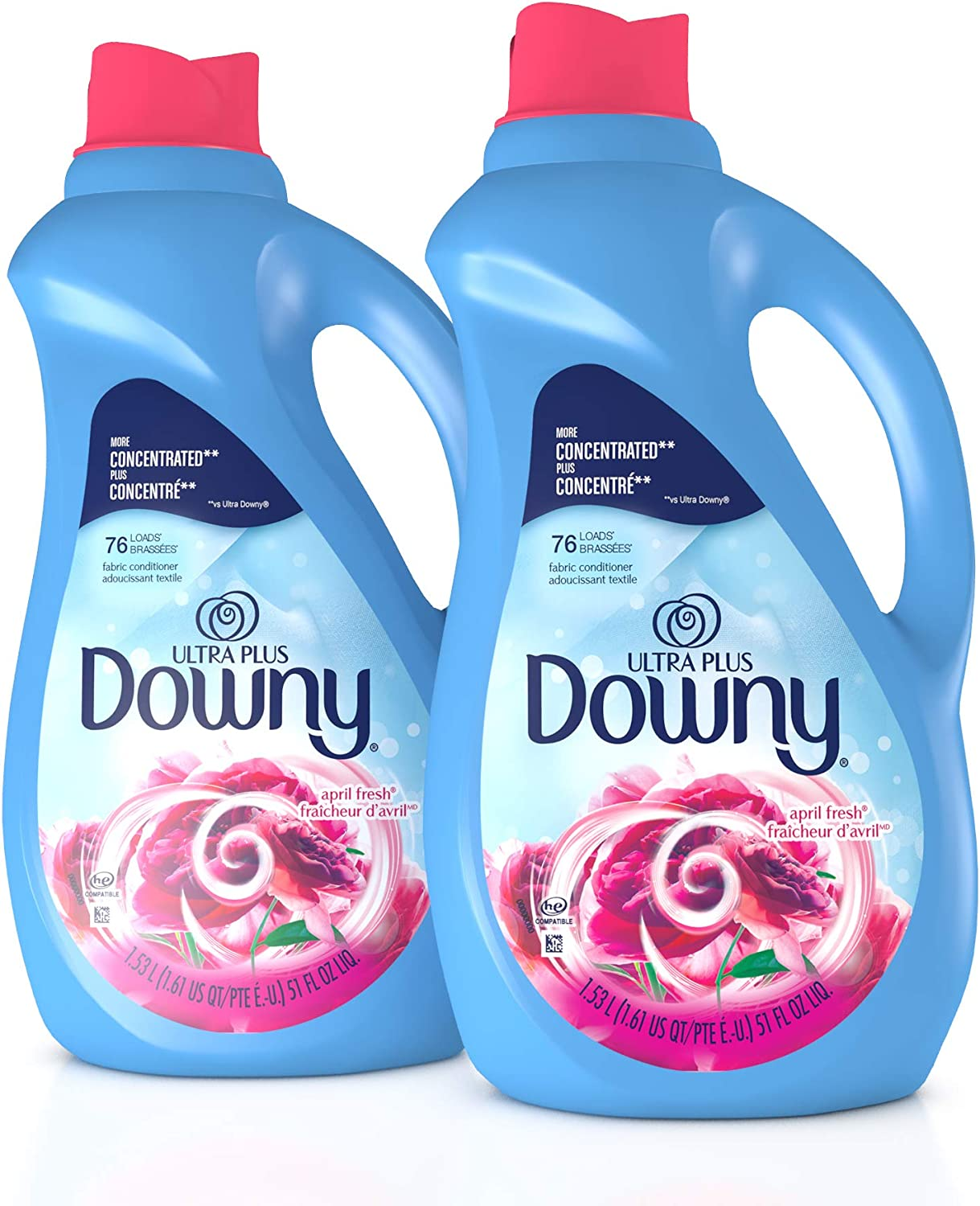 Downy Ultra Plus Liquid Fabric Conditioner (Fabric Softener), April Fresh, Concentrated, 51 oz Bottles, 2 Pack, 152 Loads Total