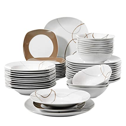 VEWEET 'Nikita' 48-Piece Ivory White Brown Lines Christmas Kitchen Dinner  Combi-Set Porcelain Tableware Set with Bowls Dessert Plates Soup Plates