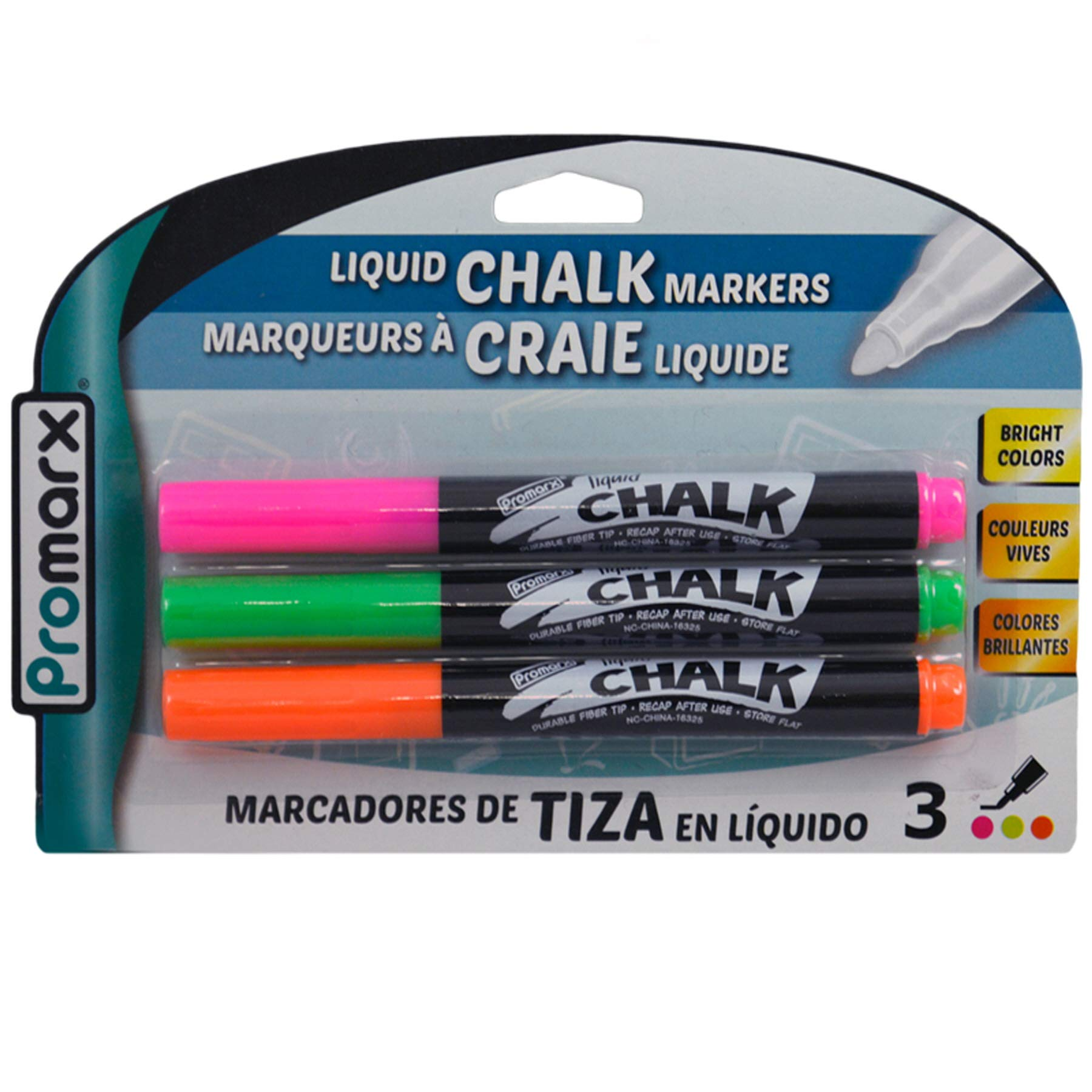 (Pack of 48, 144 Ct) Promarx Liquid Chalk Markers Pink Green Orange 3ct