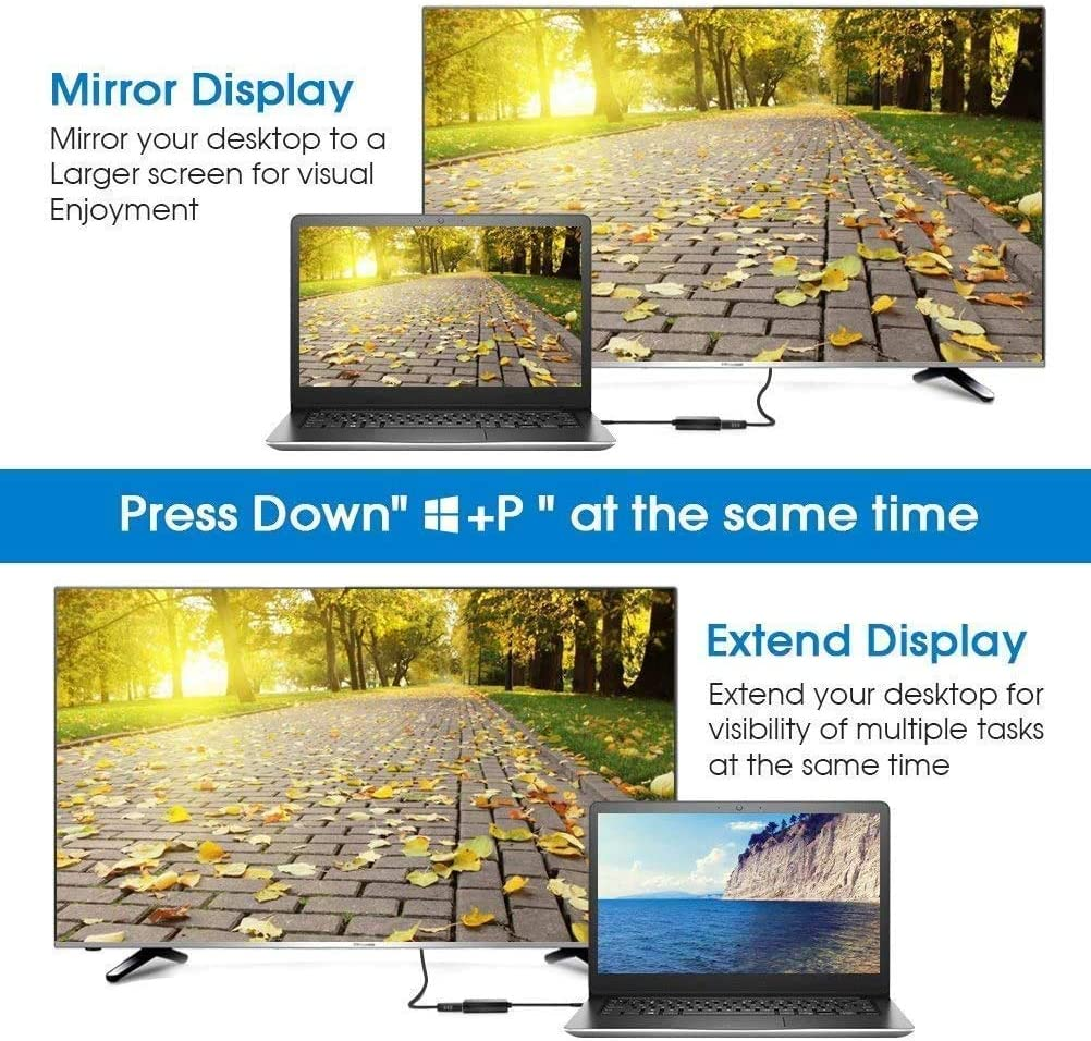 PC HDTV port/átil actualizado USB 3.0 a VGA adaptador multi-pantalla de v/ídeo compatible con PC port/átil Windows 7//8//8.1//10 escritorio proyector monitor Adaptador USB a VGA