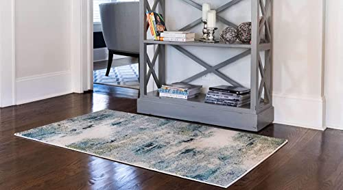 Unique Loom Chromatic Collection Abstract Modern Light Blue Area Rug 3 3 x 5 3
