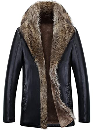 9485fd570af K3K Winter Men s Fur Coat Thicken Warm Leather Jacket Parka Luxury Raccoon  Fur Collar Lambswool Lining