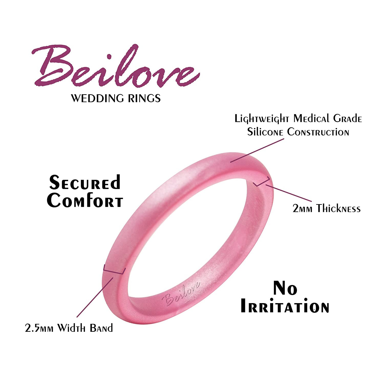Amazon.com : Thin and Stackable Silicone Wedding Ring for Women by ...