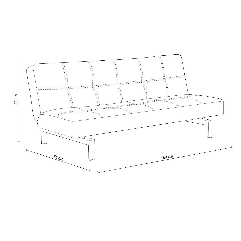 Adec - Chic, Sofá cama sistema clic clac, sofa tapizado polipiel patas cromadas, acabado color Blanco Roto, medidas: 180 x 85/105 cm