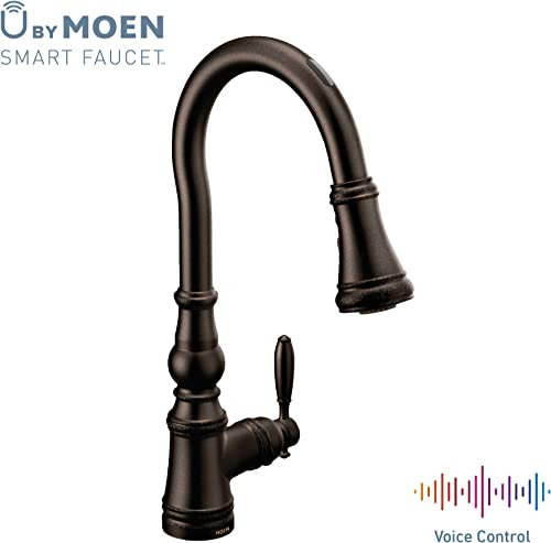Moen S73004EVORB Weymouth U by Moen Smart Pulldown Kitchen Faucet with Voice Control and MotionSense, Oil Rubbed Bronze