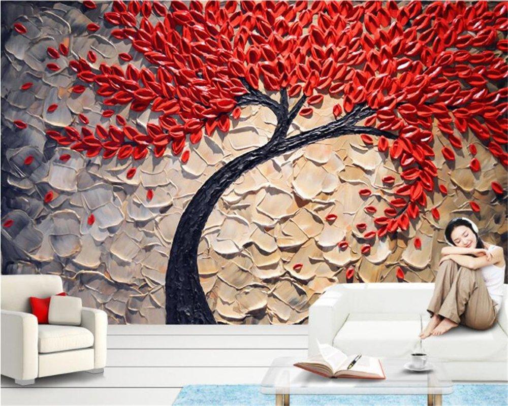 競売 140x70cm 3d壁紙赤い幸福の木油絵ステレオナイフペンの壁紙の写真