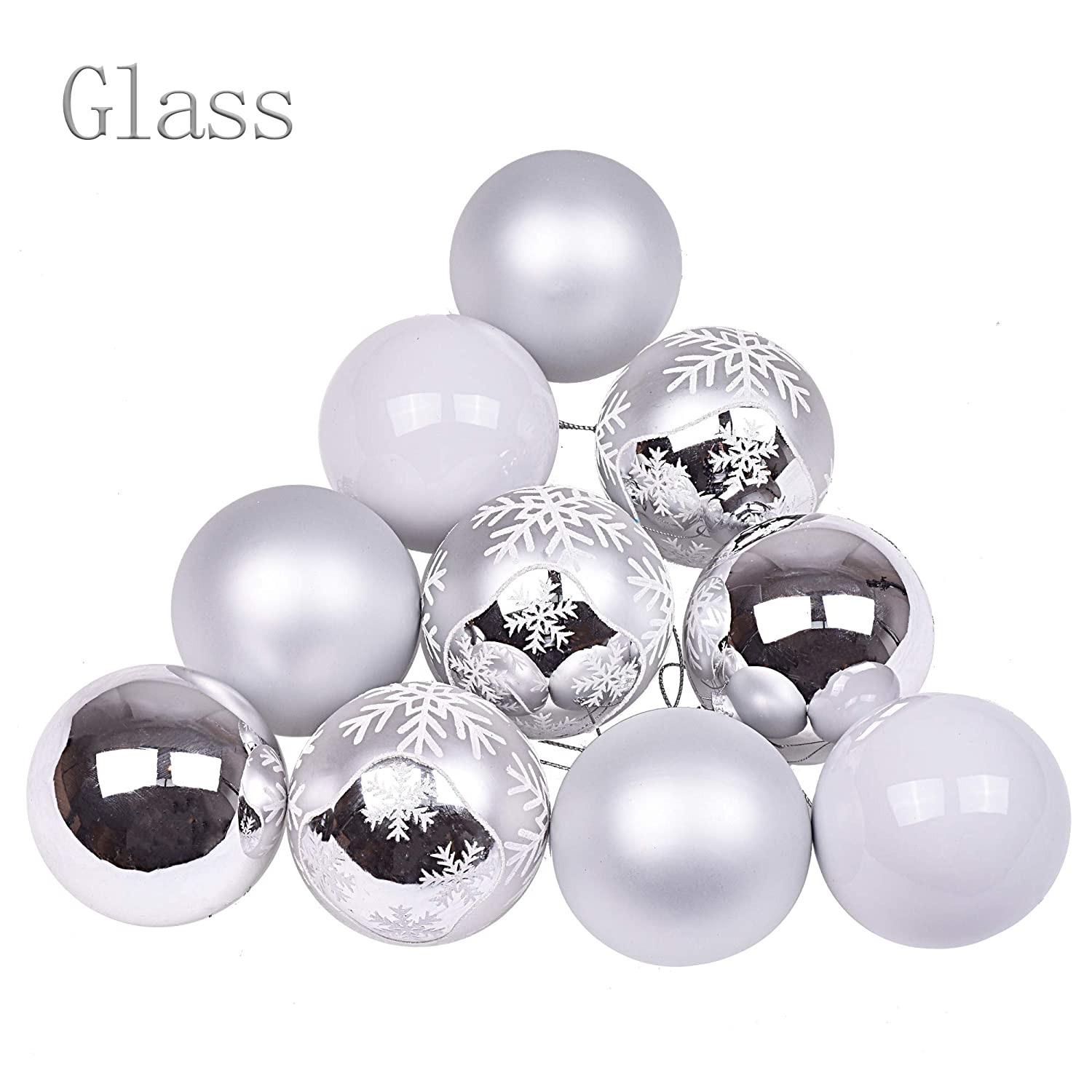 Victor S Workshop 12pcs Christmas Glass Baubles 2 4 6cm Frozen Winter Silver White Ball Ornaments Christmas Tree Decorations Themed With Matching
