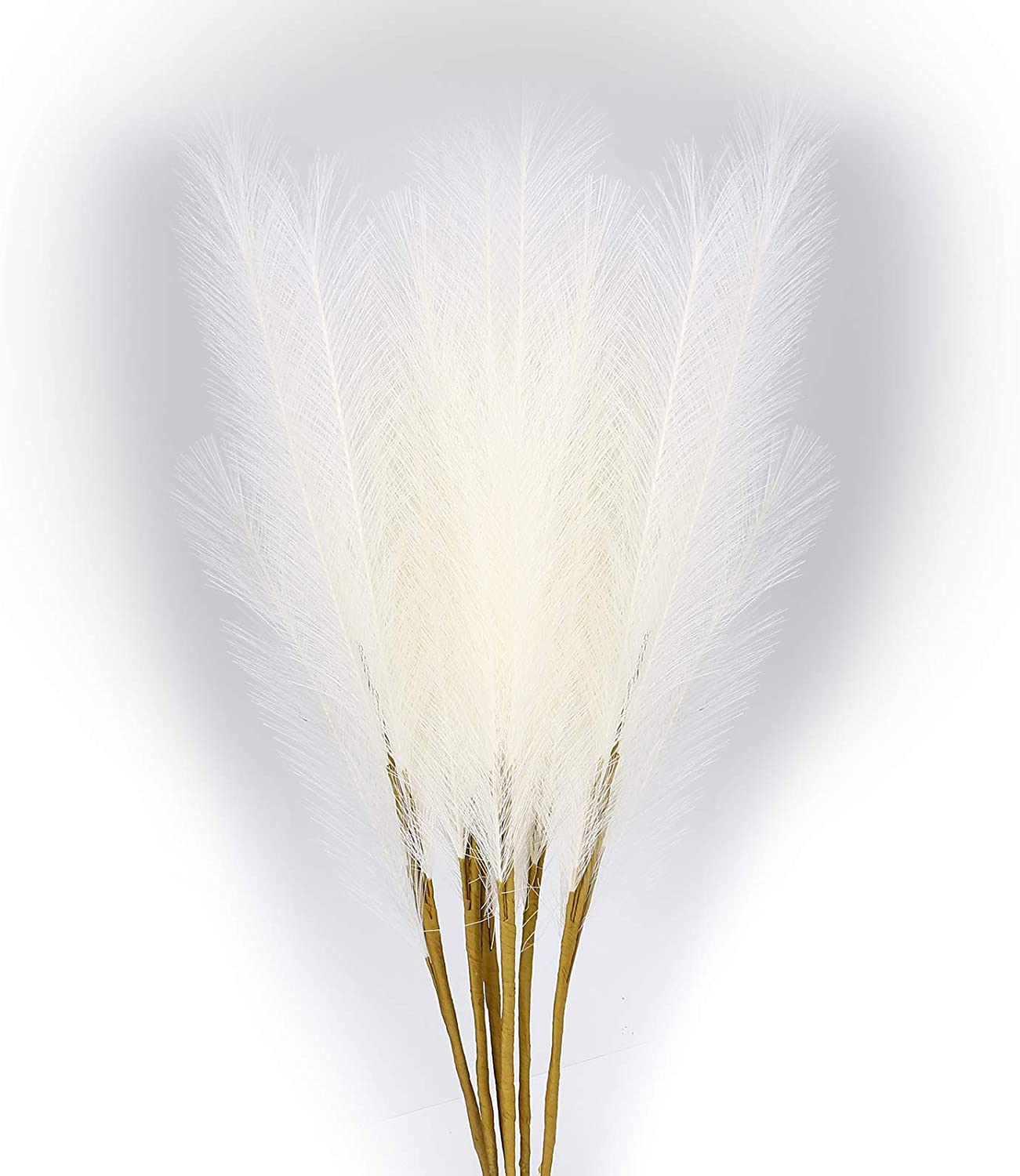 Artificial Pampas Grass,6 PCS Faux Reed Plumes White Reed Feathers for Home Wedding Party Bouquet Decor and Vase Fillings-27in Tall