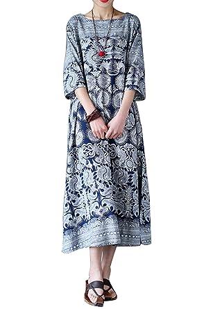vendita outlet marchi riconosciuti pacchetto alla moda e attraente Landove Vestiti Larghi e Lunghi Donna Estivi Abiti Lino Maniche 3/4 Caftano  Moda