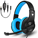 Gaming headset SL-300 with mic for PS4, Xbox one, PC, Computer, EZONE Noise Cancelling Over Ear Headphones with Microphone, Surround Sound, Volume Control, Soft Memory Earmuffs-Blue