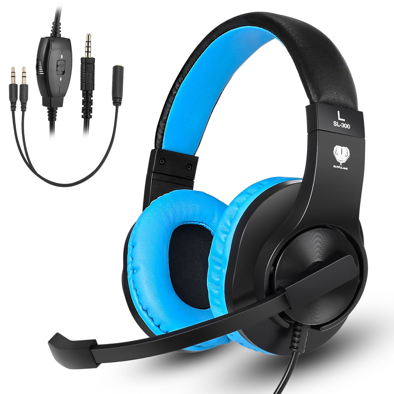 Gaming Headset with mic for PS4, Xbox one, PC, Computer, Kearui 3.5mm Wired Stereo Sound Over Ear [ One Key Mute ] Headphones with Noise Isolation for Fortnite/PUBG/God of War (Black & Blue)