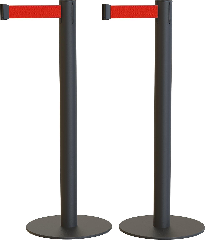 Pack de 2 postes separadores con cinta extensible: ECO NEGRO ...