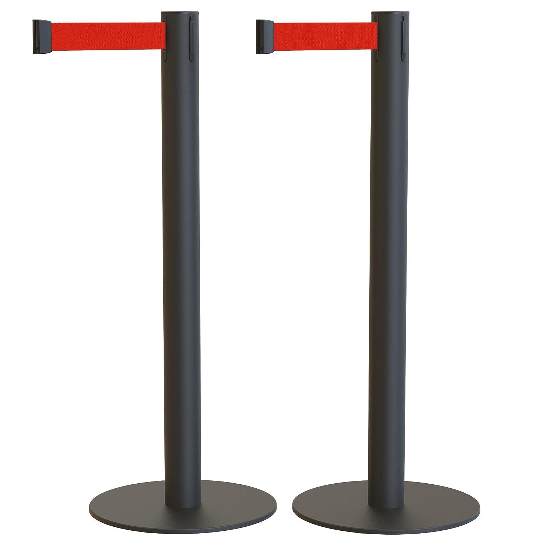 Pack de 2 postes separadores con cinta extensible: ECO NEGRO - CINTA ROJA