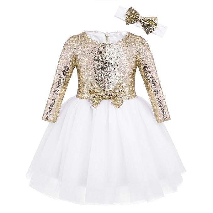 Agoky Vestidos Tutu con Lentejuelas Niñas Manga Larga Elegante Vestido de Princesa Fiesta para Bodas Cumpleaños