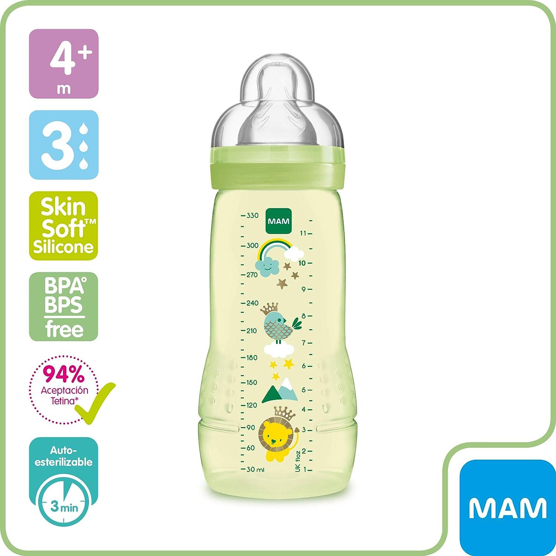 MAM Biber/ón Easy Active Baby Bottle A133 Biber/ón con Tetina de Silicona SkinSoftTM ultra suave sistema auto Esterilizaci/ón en 3 min 1 unidad 270ml Neutro para Beb/és a partir de 2 meses