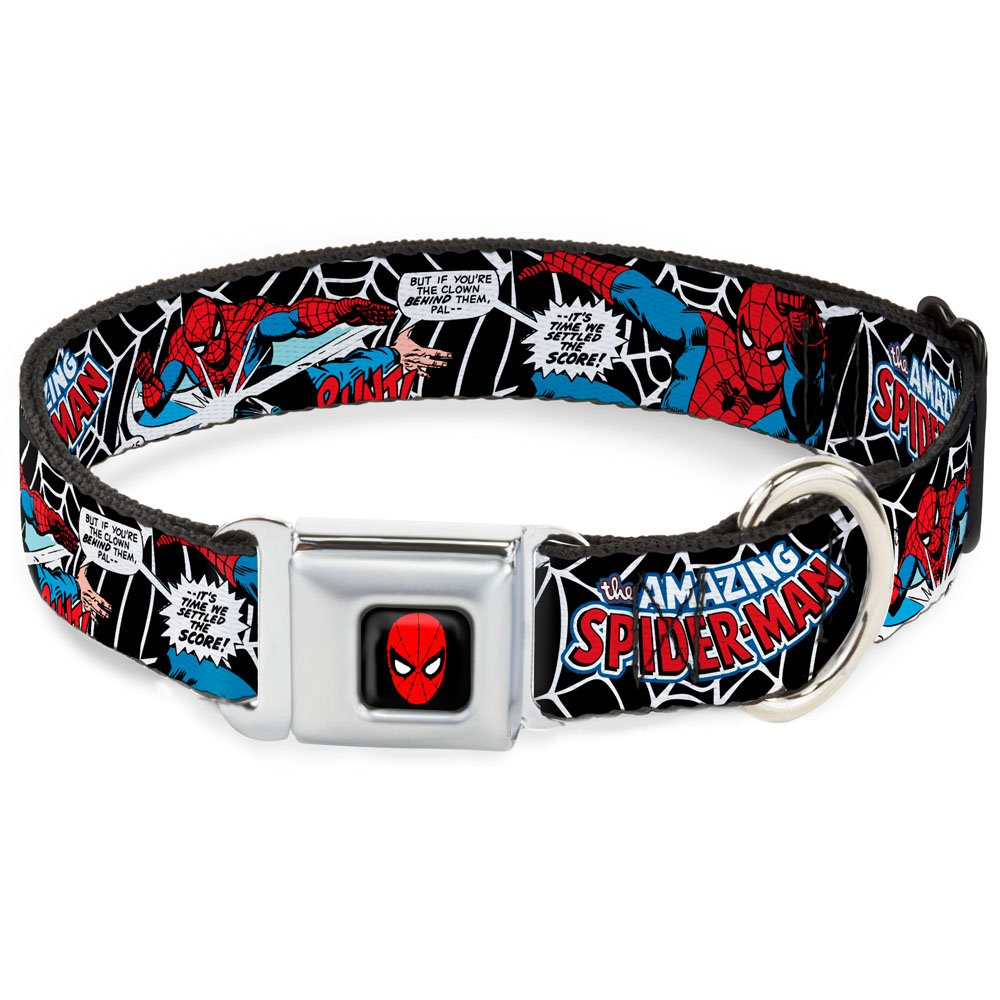 Buckle-Down Seatbelt Buckle Dog Collar JRNY-Spider-Man in Action2 w Amazing Spider-Man 1  Wide Fits 15-26  Neck Large