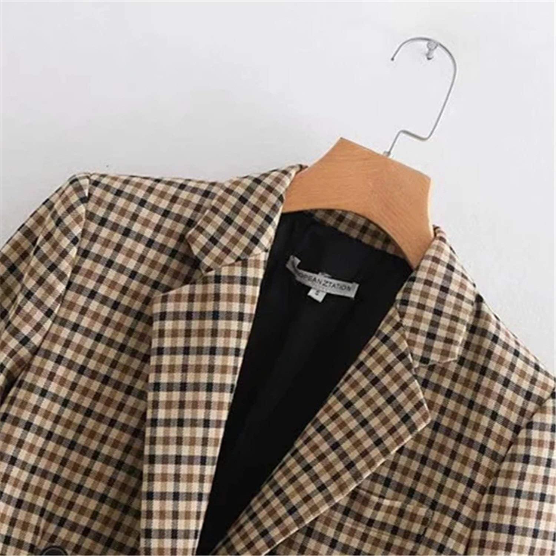Female Temperament Coat and Loose Personality Slim Long Sleeve Plaid Suit Coat,Photo Color,M