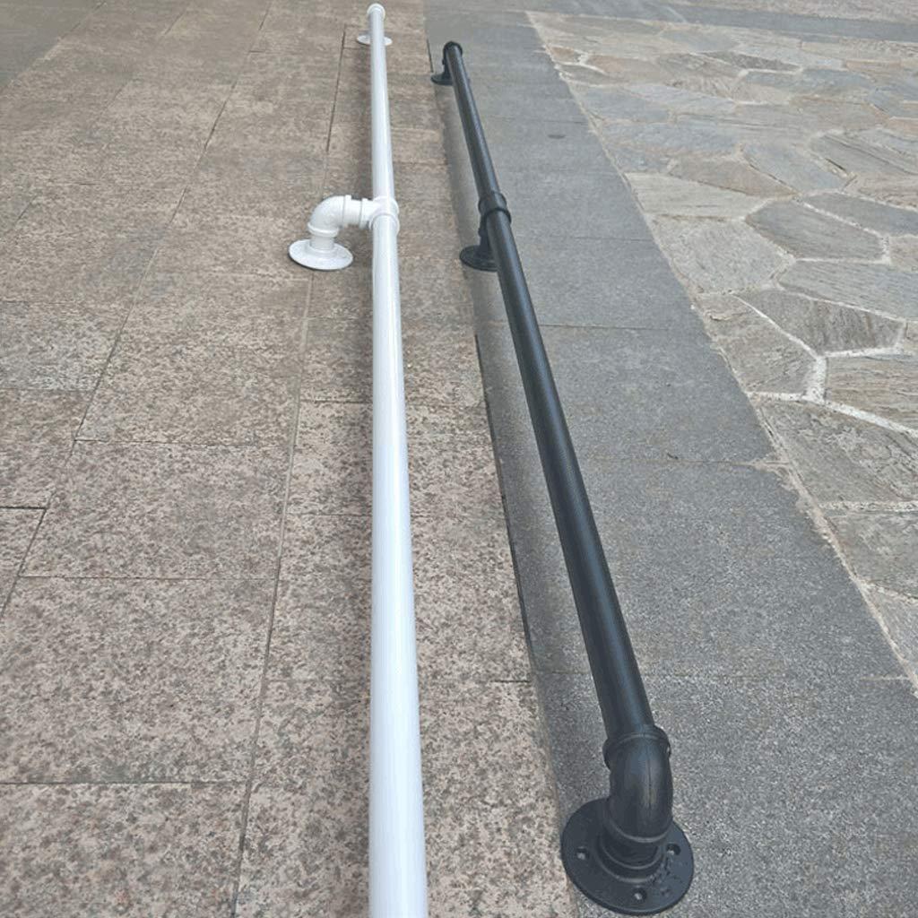 50Cm ~ 600Cm Barandilla de escalera de tubo blanco de hierro forjado de estilo industrial Valla de seguridad antideslizante vieja para i ACZZ Barandilla de la barandilla de la escalera Barandilla