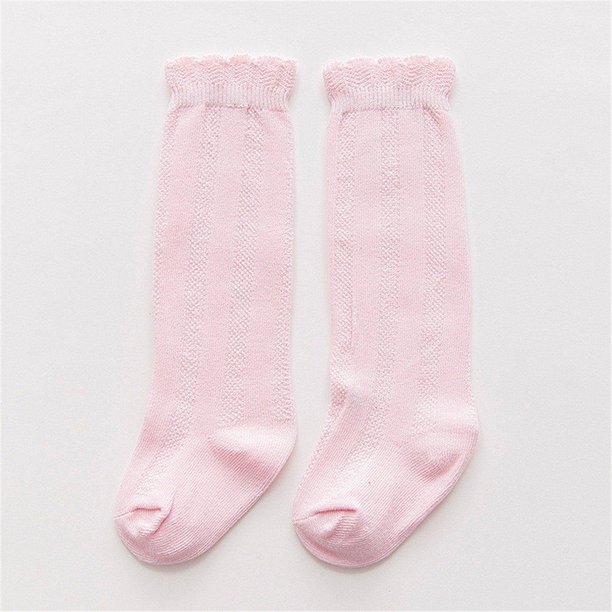 5 Pack Baby Girls Boys Uniform Soild Color Knee-High SocksTube Ruffled Stockings