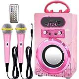 IndeCool Kids Bluetooth Karaoke Speaker with 2 Microphones, Wireless Remote Control Speaker Portable Karaoke Machine…