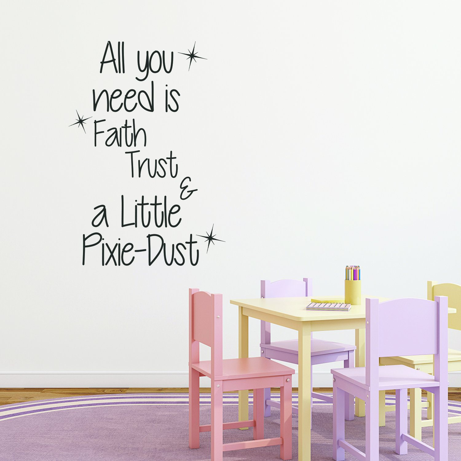 Inspirational Quotes Wall Decal for Girls Bedroom - All You Need is Faith,  Trust, and a Little Pixie Dust - 33\