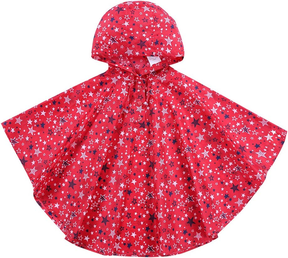 URBEAR Unisex Kids Raincoat Hooded Waterproof Outdoor Trekking Poncho Suit Raincoat in a Bag, Blue S(80-100CM