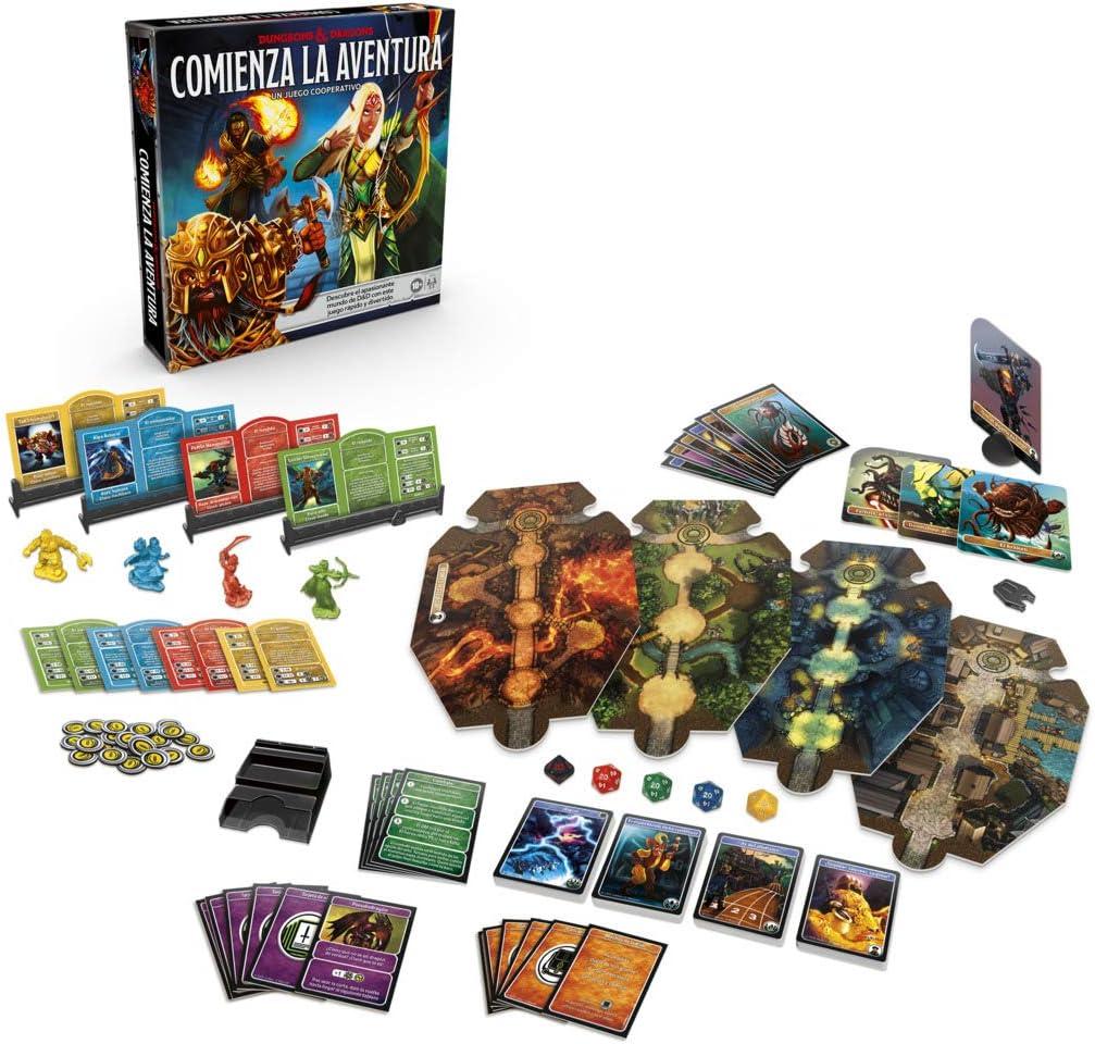 Cartas, escenarios y caja de Comienza la aventura - juegos de rol y de mesa