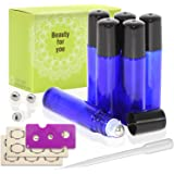 Pack of 6, 10ml Cobalt Blue Glass Roll On Bottles With Stainless Steel Roller Ball for Essential Oil, Aromatherapy by Mavogel - 3ml Dropper and Essential Oil Bottle Stickers Included