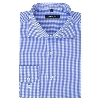 Vidaxl Camisa De Vestir De Hombre A Cuadros Blanca Y Azul