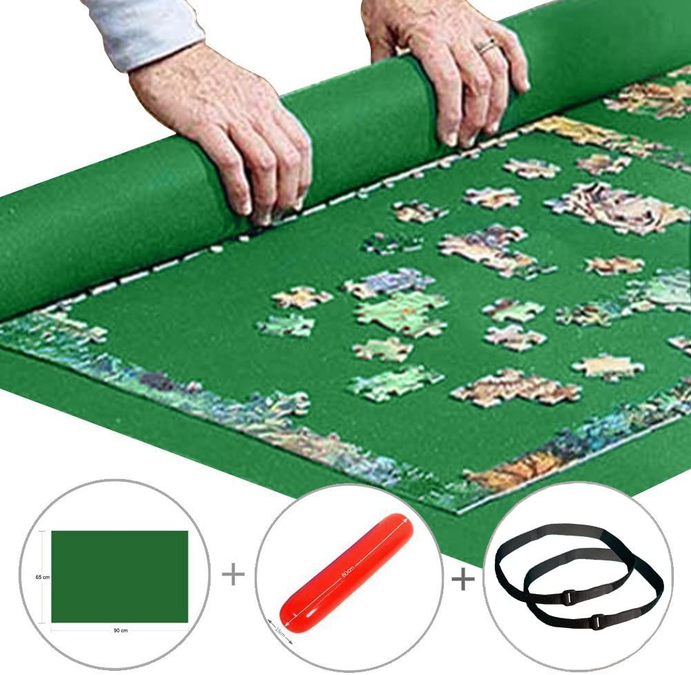 Inflatable Tube 46x26 Puzzle Felt Mat 3 Velcro Fastener Mini Handle Pump 4 Sorting Tray Jigsaw Puzzle Mat Roll Up 1500 Pieces Handy Storage/&Friendly Material Drawstring Opening Storage Bag