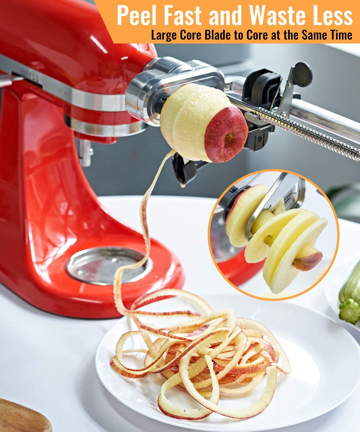 Core Veggie Pasta Maker with 7 Blades Include Peel X Home Spiralizer Plus Attachment Compatible with Kitchenaid Mixer and Slice to Make Salad Zoodles