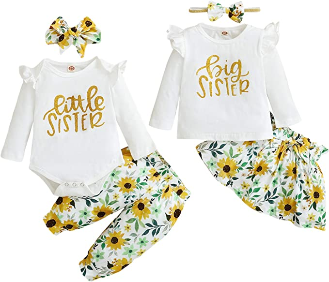 UK Matching Clothes Big Sister T-shirt Little Sister Romper+Long Pants Outfits