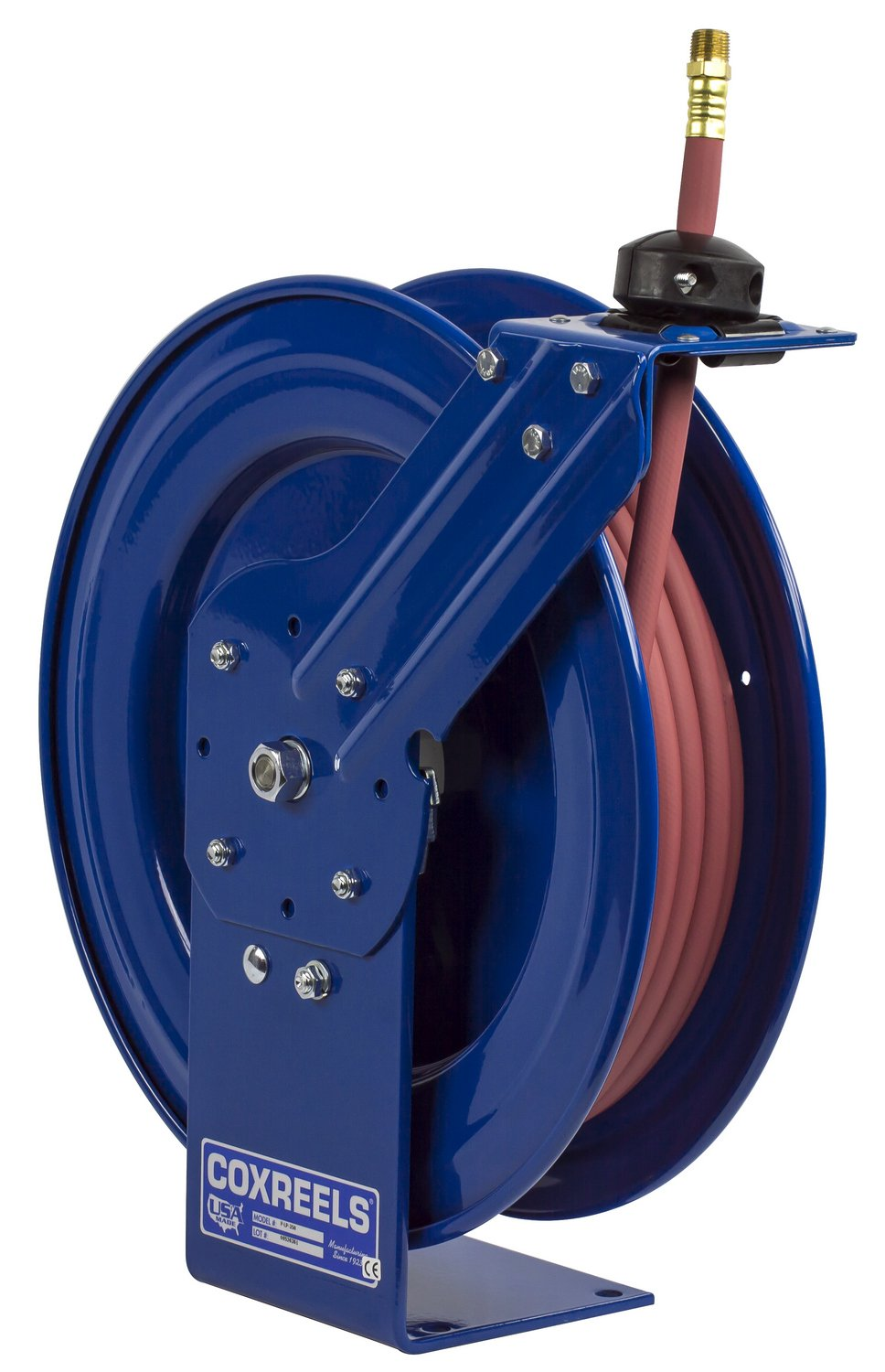Coxreels P-LP-350 Low Pressure Retractable Air/Water Hose Reel: 3/8'' I.D., 50' Hose Capacity, with hose, 300 PSI, Made in USA