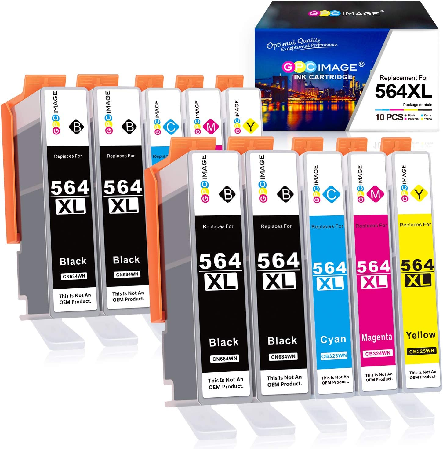 GPC Image Compatible Ink Cartridge Replacement for HP 564XL 564 XL to use with DeskJet 3520 3522 Officejet 4620 Photosmart 5520 6510 6515 6520 7520 7525 D7560 (Black Cyan Magenta Yellow,10-Pack)