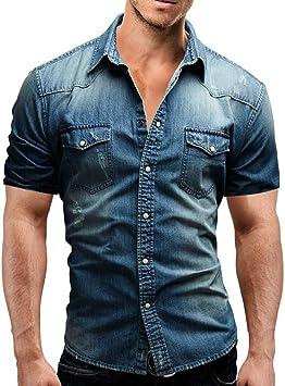 GKKYU Nuevos Jeans para Hombre Camisas Algodón de Verano Lavado con Agua Tops para Hombre Camisa Vaquera de Manga Corta con Estampado de Flores Hombres: Amazon.es: Deportes y aire libre