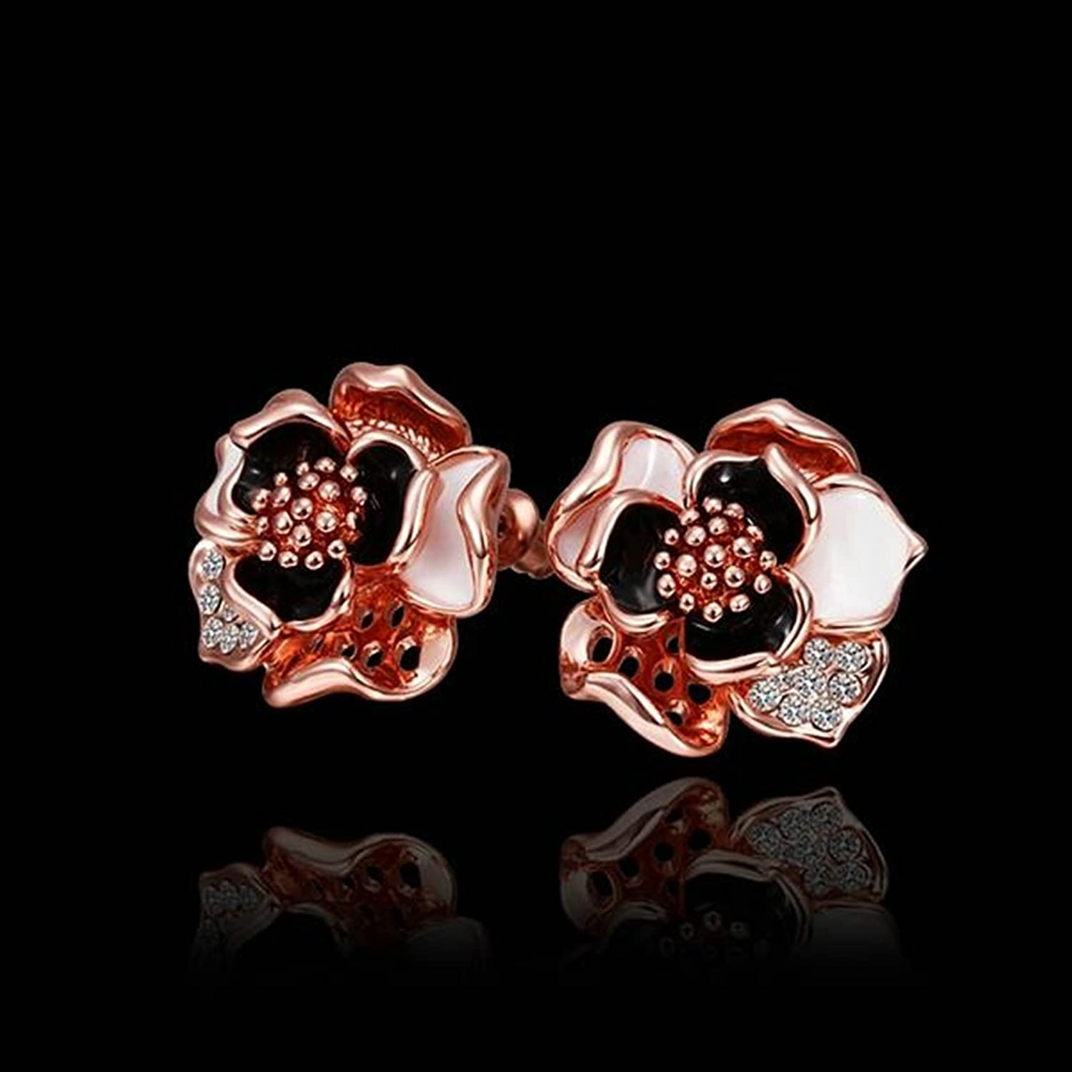 AmDxD Jewelry Silver Plated Stud Earrings for Women Blossom Peony 19X18MM