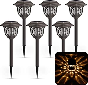 Solar Path Lights – 6 Pack Solar Pathway Lights Solar Powered Reddish-Brown Glass Lampshade & Stainless Steel, Auto On & Off, 25 Lumens, Waterproof Solar Lights Outdoor Decor for Path, Landscape