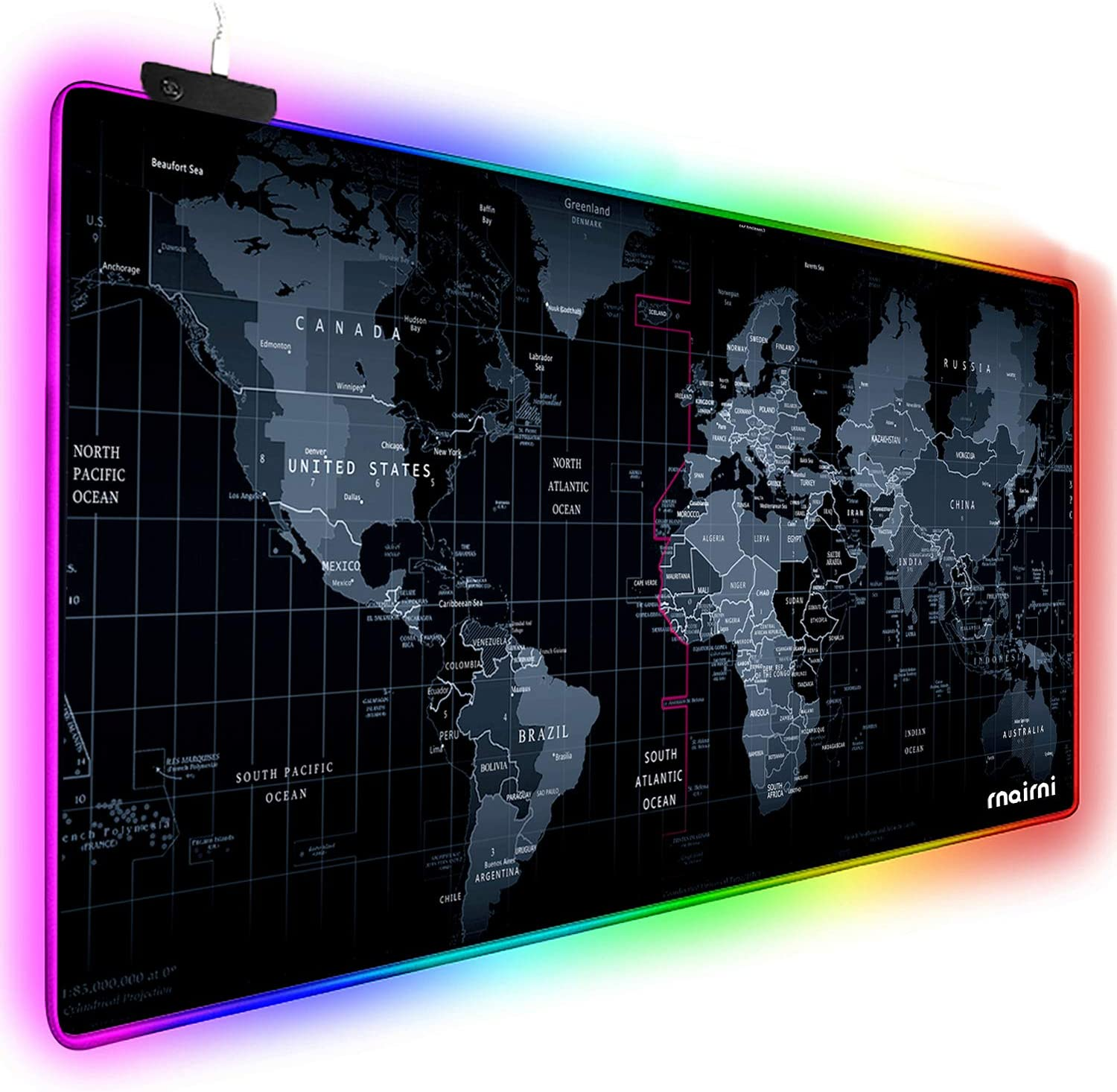 "Extended RGB Gaming Mouse Pad, Extra Large Gaming Mouse Mat for Gamer, Waterproof Office DEST Mat with 10 Lighting Mode, for PC Computer RGB Keyboard Mouse MacBook - 31.5'' x 15"" x 4mm(Map)"