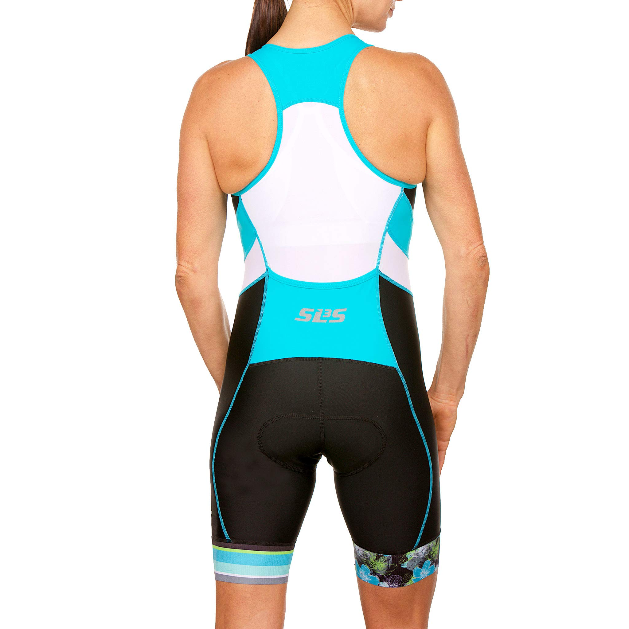 SLS3 Women`s Triathlon Suit FX | Womens Trisuits | 1 Pocket Triathlon Gear Suits Women | Anti-Friction Seams Womens Tri Suit | German Designed (Black/Martinica Blue, XL) by SLS3 (Image #3)