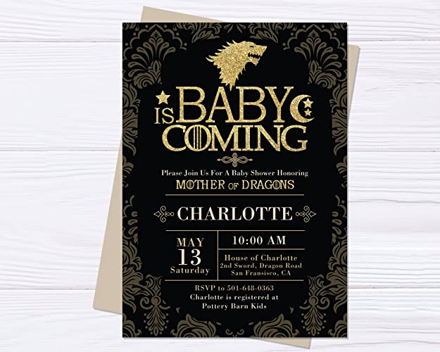 Amazon baby shower game of thrones inspired invitation mother baby shower game of thrones inspired invitation mother of dragons baby shower invitation game filmwisefo