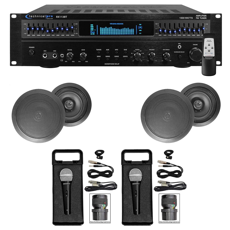 """1500 Watt Home Karaoke Machine System+(4) 6.5"""" Black Ceiling Speakers"""