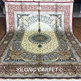 8'x10' Persian Silk Rugs Classic Traditional Oriental Nain Floral Medallion Rugs Beige and Red Handmade Floor Carpet Z003A8x10