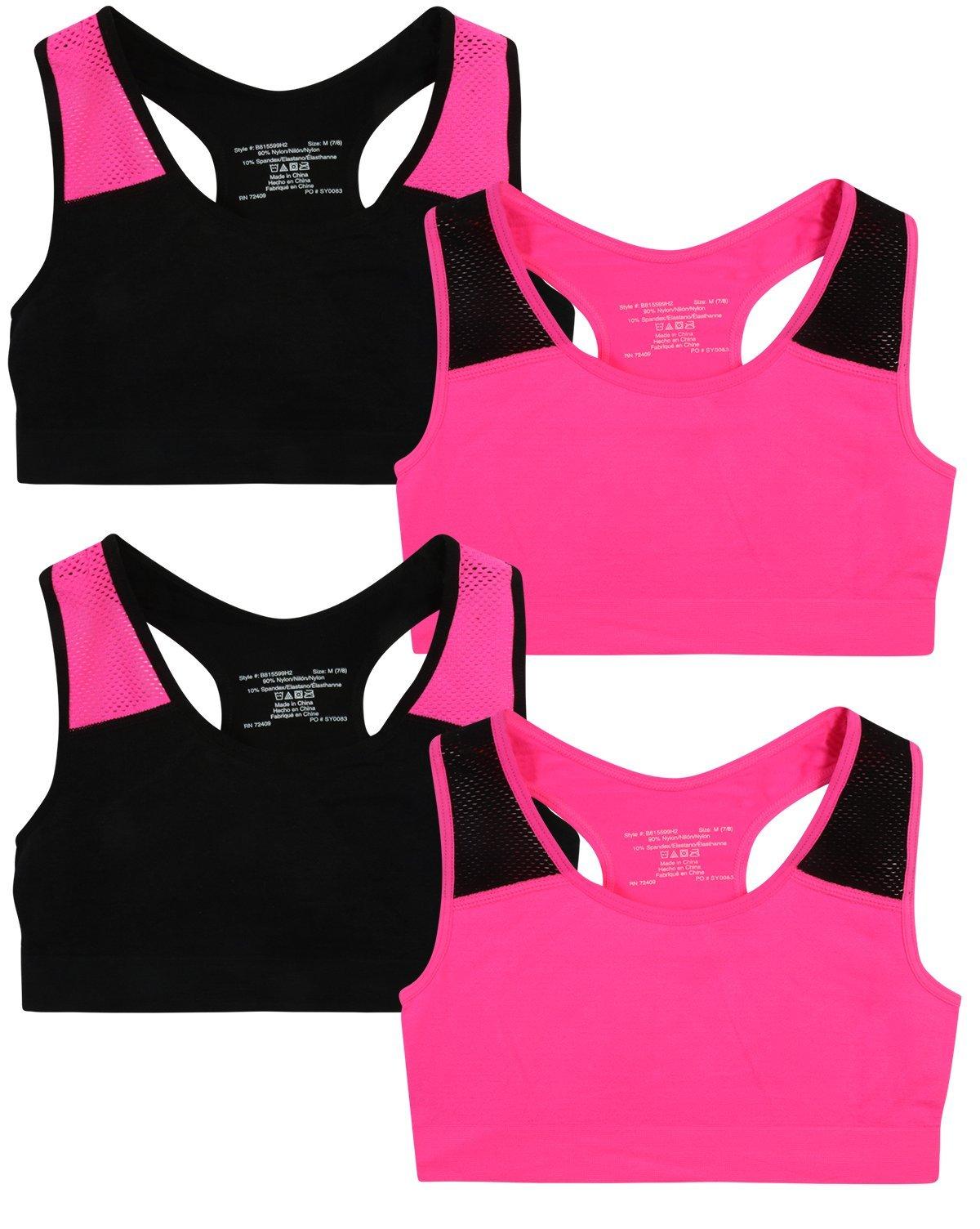 Only Girls by Rene ROFE Girl Seamless Criss Cross Racerback Sports Bra, (4 Pack) (Large - 10/12, Black/Pink)'