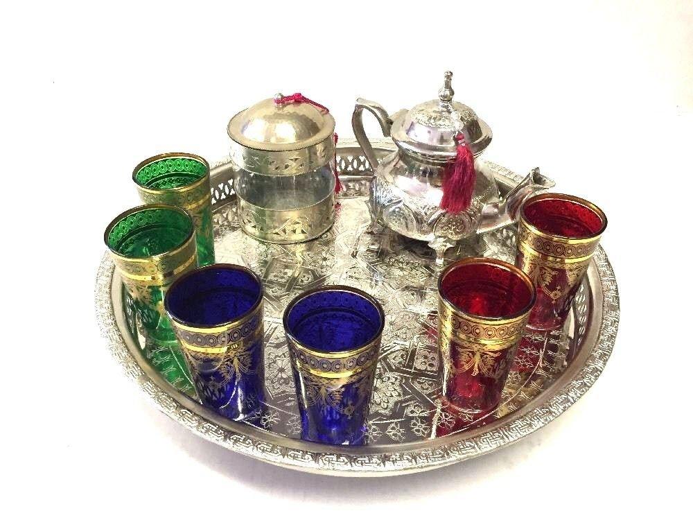 Mint Tea Set Moroccan MAROC Tea Set Moroccan Teapot 6 Tea Glasses Cup