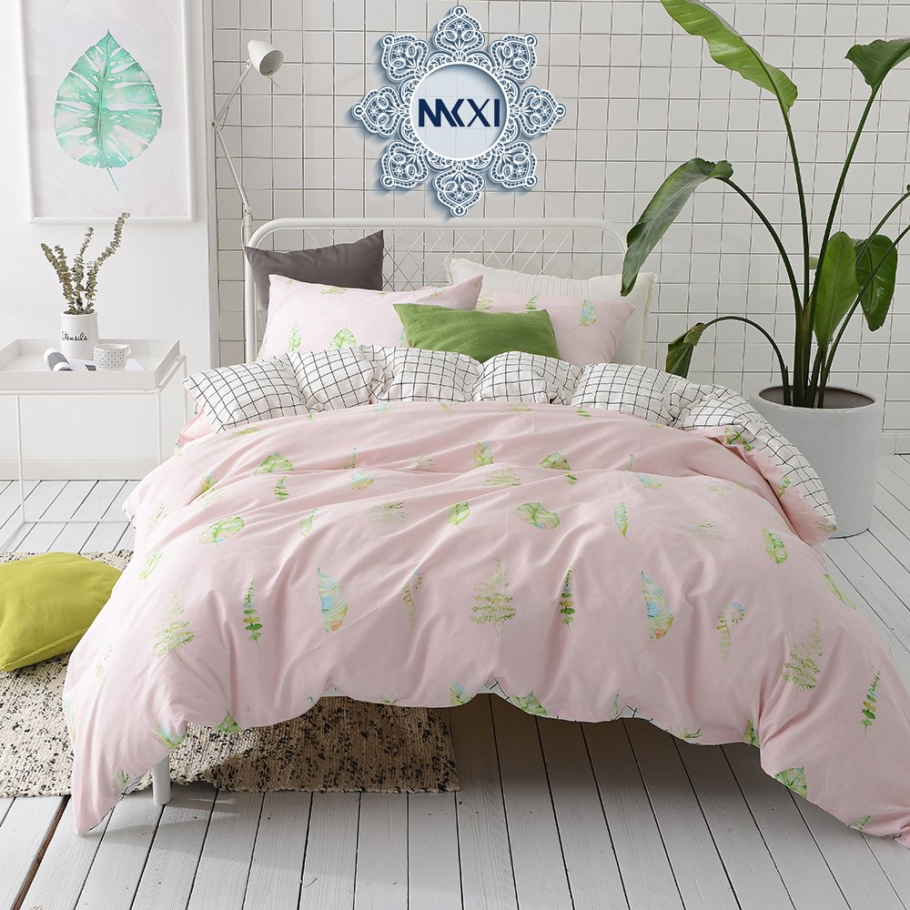 MKXI Soft Cotton Reversible Duvet Cover Pink Green Leaf Botanical Garden Bedding Set Queen