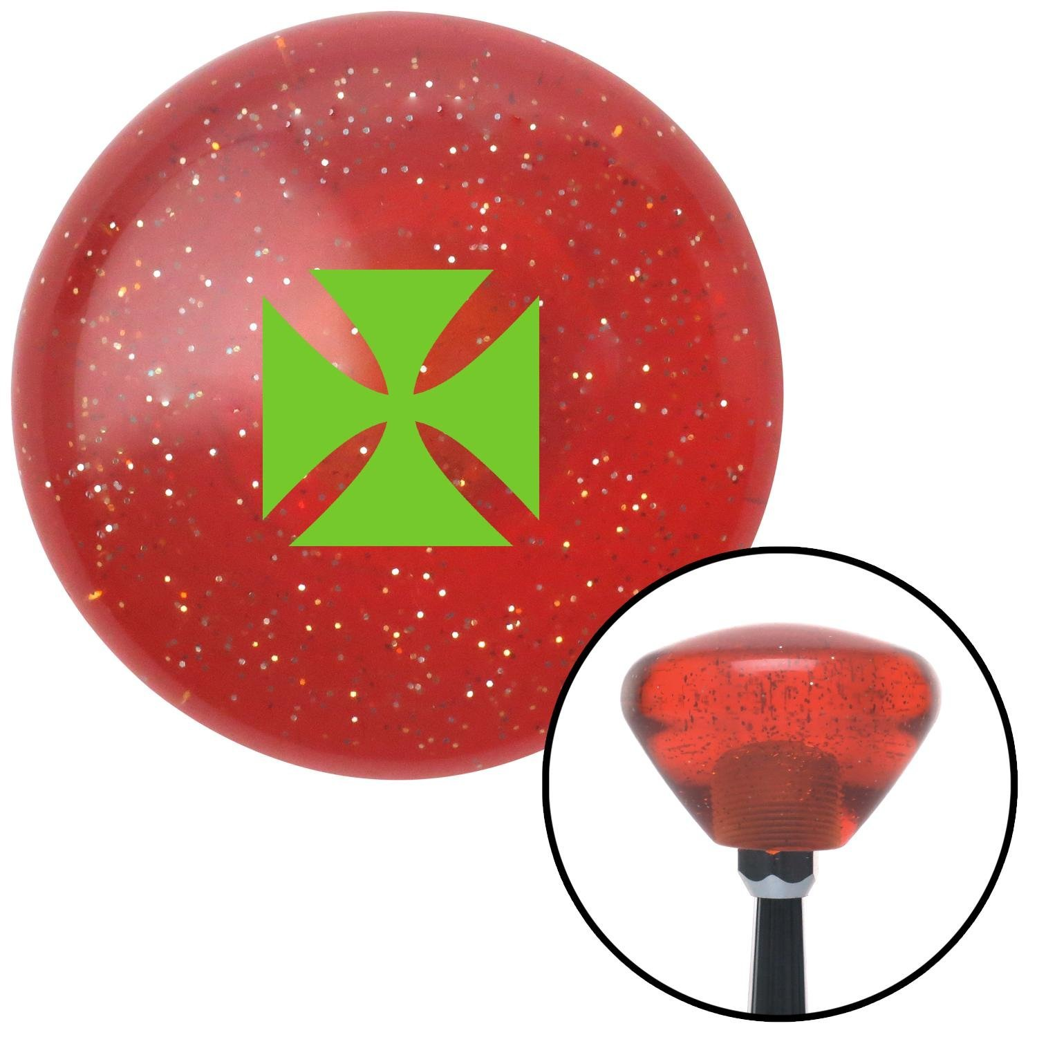 American Shifter 288144 Shift Knob Green Cross Maltese Orange Retro Metal Flake with M16 x 1.5 Insert