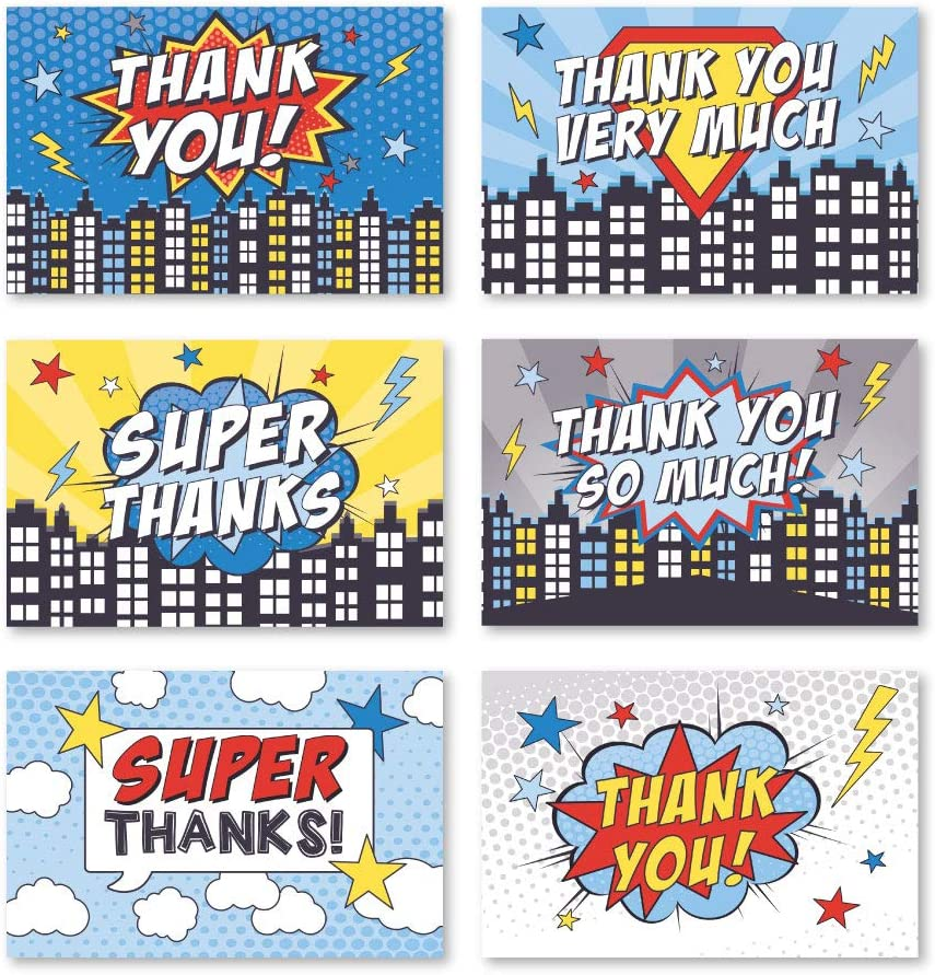 Yellow Comic Superhero Personalized Childrens Birthday Party Thank You Cards